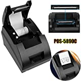 Coldcedar POS-5890C 58mm Thermal printer with DVD, USB Mini POS Thermal Dot Receipt Bill Printer Set Roll Paper 90mm/sec print speed