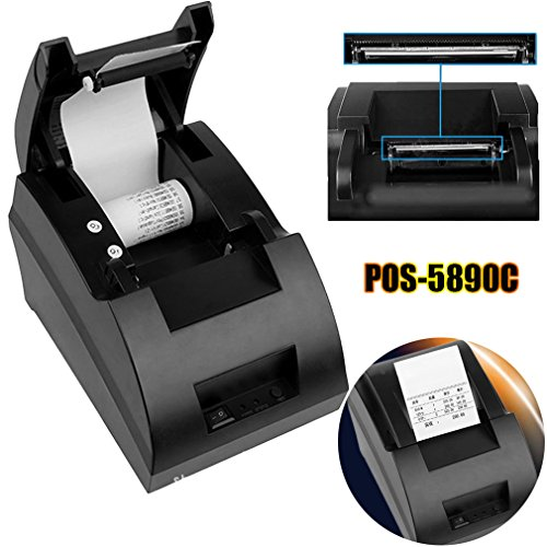 Coldcedar POS-5890C 58mm Thermal printer with DVD, USB Mini POS Thermal Dot Receipt Bill Printer Set Roll Paper 90mm/sec print speed by Coldcedar