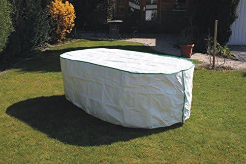 Housse table de jardin ovale Exclusive en Tyvek blanc avec roulement ...