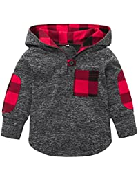 TM Toddler Baby Girls Boys Plaid Hooded Sweatshirt With Pocket Pullover Tops Casual Warm Clothes