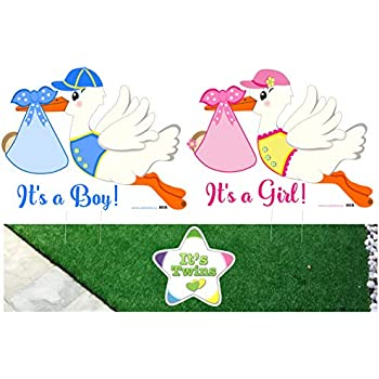 Amazon Com Cute News Stork Baby Yard Signs With Twin