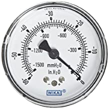 "WIKA 9748339 Capsule Low Pressure Gauge, Dry-Filled, Copper Alloy Wetted Parts, 2-1/2"" Dial, 0-60""WC Vacuum (mm WC) Range, +/-1.5% Accuracy, 1/4"" Male NPT Connection, Center Back Mount"