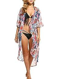 Yonala Women's Flower Pattern Sheer Chiffon Beachwear Bikini Cover Ups Kimono