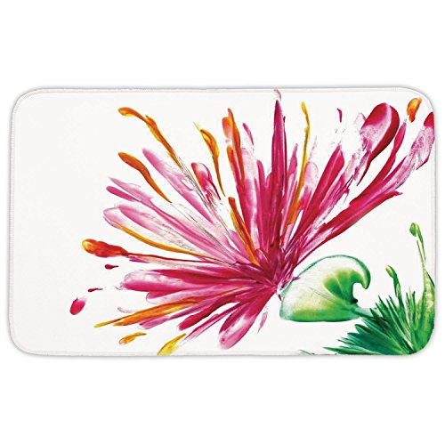 Rectangular Area Rug Mat Rug,Watercolor Flower House Decor,Opened Out Asiatic Oriental Lily Freesia Florets Home Art,Fuchsia Green,Home Decor Mat with Non Slip Backing by iPrint