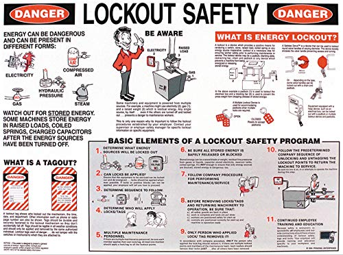 """Brady Laminated Lockout Safety Poster, 18"""" Height x 24"""" Width - 45636 , Black and Red - LOSP8"""