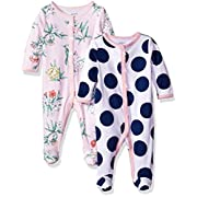 Carter's Baby Girls' 2-Pack Cotton Sleep and Play, Blue Dot/Pink Floral, 3 Months