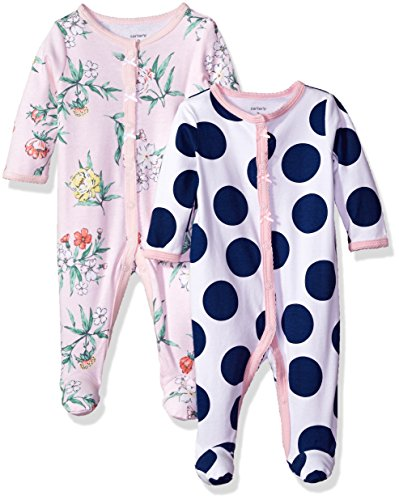 Carter's Baby Girls' 2-Pack Cotton Sleep and Play, Blue Dot/Pink Floral, Newborn