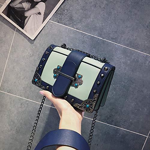 Bleu Dames carré Retro Besace Sac Sacs Crossbody Main Sac à Sac chaîne épaule WSLMHH Sauvage ZqUfan6wx