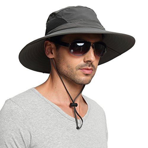 (EINSKEY Men's Waterproof Sun Hat, Outdoor Sun Protection Bucket Safari Cap For Safari Fishing Hunting Dark Gray One Size)