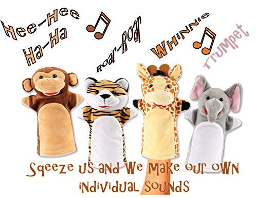 Animal House Talking Animal Hand Puppets by Includes (4) Hand Puppets, Each with A Unique Animal Sound When You Squeeze | Baby Gift | Toddler Gift (Jungle Buddies) Big Mouth Animal Puppets
