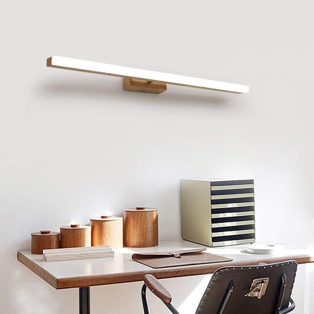 Carl Artbay Shuai Beautiful lamp/ * LED-spiegel koplamp - houten wandlamp slaapkamer make-up Light (kleur: warm licht 60 cm) Wit licht 60 cm