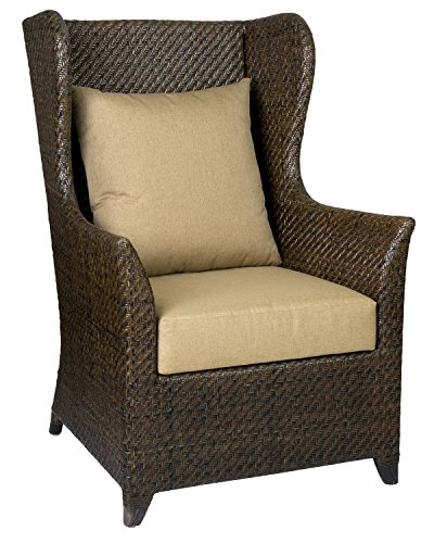 East at Main Lucia Espresso Rustic Square Rattan Accent Chair, 29.5