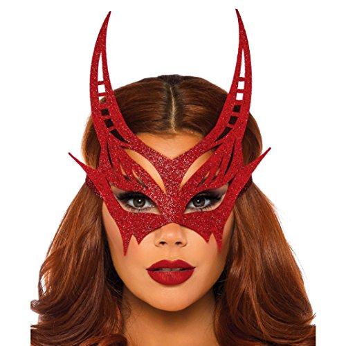 (Leg Avenue Women's Glitter Devil Mask, red)