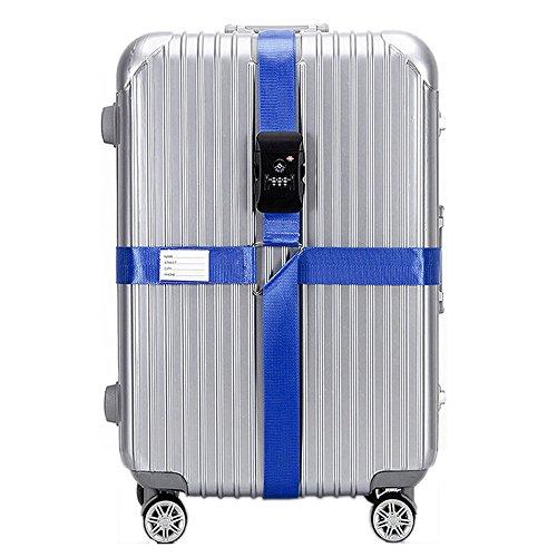 BlueCosto Blue TSA Approved Adjustable Luggage Straps Suitcase Strap Travel Belt ()