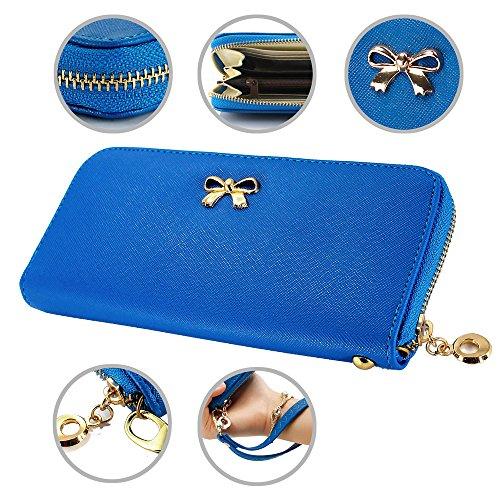 GEARONIC TM Women Wallet Long Clutch Zipper Leather Card New Fashion Lady Bow-Tie Holder Case Purse Handbag - Dark (Tie Wallet)