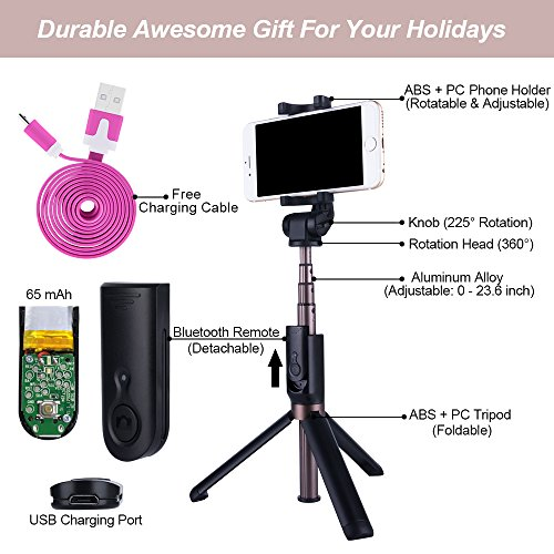 novasat selfie stick bluetooth monopod with foldable tripod stand and remote control extendable. Black Bedroom Furniture Sets. Home Design Ideas