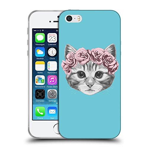 GoGoMobile Coque de Protection TPU Silicone Case pour // Q05020627 Fleur chat Cyan // Apple iPhone 5 5S 5G SE