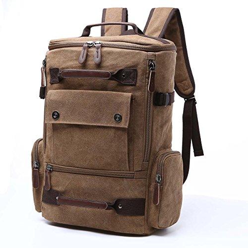 Yousu Canvas Fashion Travel Backpack School Rucksack Hiking Daypack, Coffee