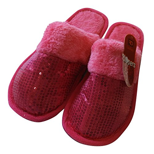 Ciabattine Di Paillettes Da Donna Dinette Per La Casa E Lo Stile, Morbidissimo Slip-on In Morbido Peluche