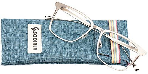 SOOLALA Womens Mens Alloy Full Frame Unique Clear Lens Eyeglass Reading Glass, Silver, - Uk Designer Mens Glasses Reading