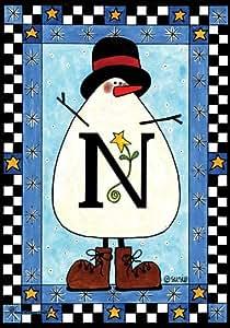 SnapDragon Flag - Snowman Monogram - N