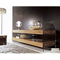 Limari Home The Latrell Collection Modern 2 Tier Shelf MDF and Tempered Glass Rustic Living Room Media Storage TV Stand , Walnut