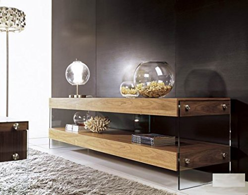 Limari Home Latrell Collection Modern 2 Tier Shelf MDF and Tempered Glass Rustic Living Room Media Storage TV Stand, Walnut - Glass Mdf Tv Stand
