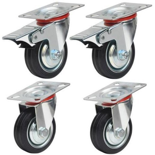 Commercial Locking Casters 4 (Heavy Duty 4 Plate 360° Rotation 2 Rubber Swivel Caster Wheels With 2 Brake | Non Slip Grooved Edges Double Ball Bearing Head Strong Durable | For Industrial Commercial Use Max Load 110 Lbs Per Wheel)