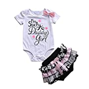 Cute Baby Girl Daddy's Girl Print Bow Romper+Multi-Tulle Ruffle Bowknot Shorts Outfit (0-6 Months, White)
