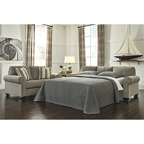Ashley Furniture Signature Design - Baveria Traditional Style Rolled Arm Sleeper Sofa - Queen Size Mattress Included - Fog