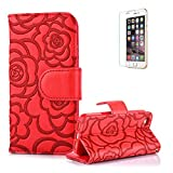iPhone 5S Case.iPhone SE Wallet Case,Funyye Elegant Premium Vintage Emboss Flower Flip Folio Stand PU Leather Wallet Magnetic Closure Cover Skin with [snap fastener] and [Credit Card Holder Slots] Stand Function Book Type Stylish Full Protection Holster Case Cover Skin Shell for iPhone 5/5S/SE-Red