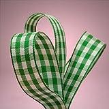 "Green Gingham Ribbon, 5/8"" X 25Yd"