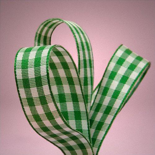 Green Gingham Ribbon, 3/8