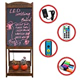 LED Message Writing Board, 22'' x 15 '' Wood Bottom Flower Shelf Restaurant Menu Sign, Flashing Illuminated Erasable Neon with Remote Controlled, Multiple Colors, Flash Modes (Coffee)