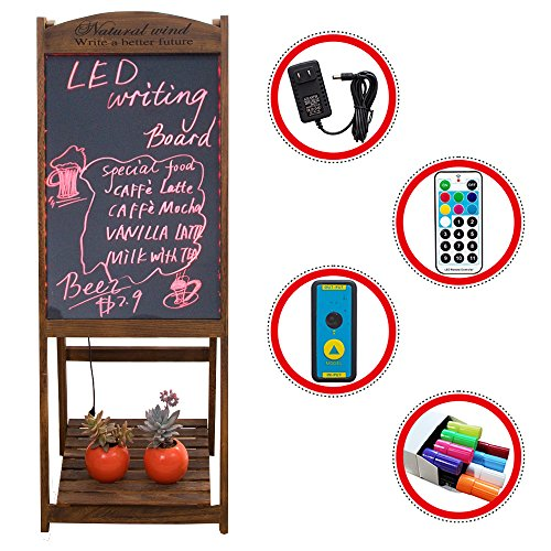 LED Message Writing Board, 22'' x 15 '' Wood Bottom Flower Shelf Restaurant Menu Sign, Flashing Illuminated Erasable Neon with Remote Controlled, Multiple Colors, Flash Modes (Coffee) by gootrades