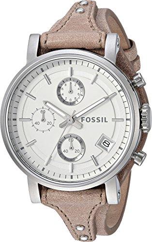 Fossil Women's ES3625 Original Boyfriend Chronograph Stainless Steel Watch with Beige Leather Band