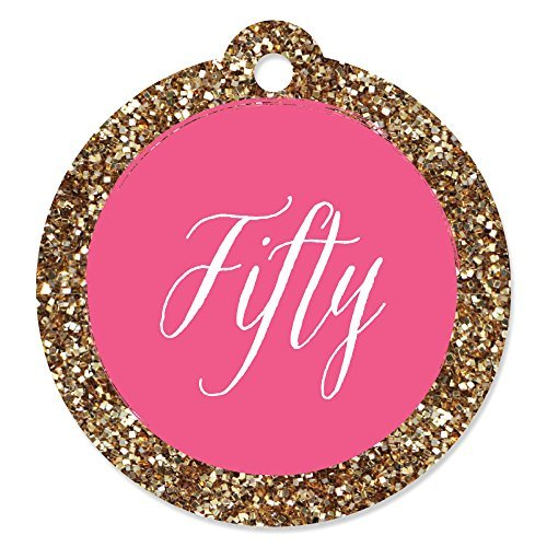 Chic 50th Birthday - Pink and Gold - Birthday Party Favor Gift Tags (Set of 20)