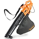 VonHaus 3 in 1 Leaf Blower, Garden Vacuum & Mulcher - 2600W - Large 35 Litre Collection Bag, 10:1 Shredding Ratio, Automatic Mulching Compacts Leaves in Bag with 10m Cabl