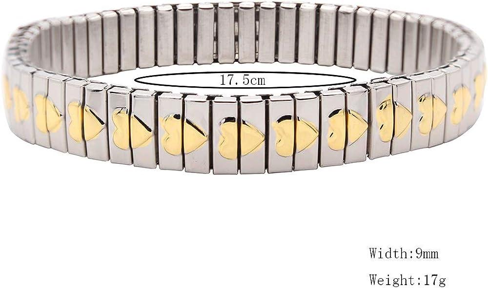 Tendencia Mujeres/Hombres 14 Estilo Reloj Estilo De Banda Pulsera Elástica De Acero Inoxidable Pulsera De Corazón De Flor Dorada