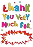 Lot de 10 cartes de remerciement Inscription Thank you very much for my Multicolore