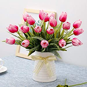 YILIYAJIA Artificial Tulips Flowers with Ceramics Vase Fake Tulip Bridal Bouquets Real Touch Flowers Arrangement for Home Table Wedding Office Decoration 103