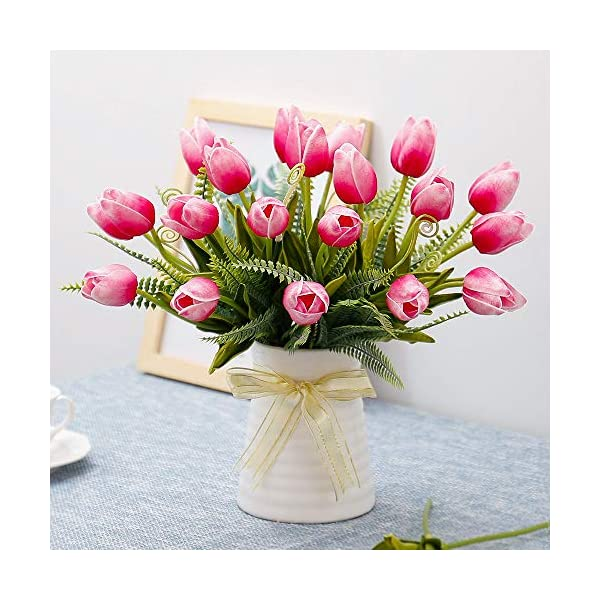 YILIYAJIA Artificial Tulips Flowers with Ceramics Vase Fake Tulip Bridal Bouquets Real Touch Flowers Arrangement for Home Table Wedding Office Decoration(Red)