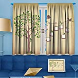 VROSELV Print Woven Sateen Window Curtain,memories tree withframes insert your photos into frames Panel Pair with Grommet Top, 55'' W x 63'' L
