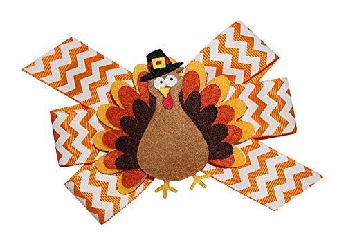 WD2U Girls Chevron Pilgrim Tom Turkey Thanksgiving Hair Bow Alligator Clip -
