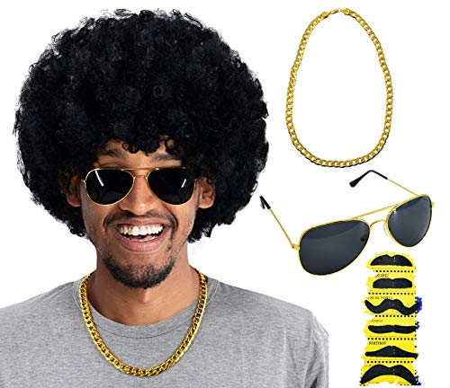 Best Rock Star Halloween Costume (70s 80s 90s Disco Rock Star Heavy Metal Costume Mega-Huge Wig Set with Sunglasses & Necklace & Fake Mustache)