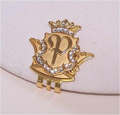 Royal Initials Crystal Golf Ball Marker & Crown Hat/Visor Clip - Gold
