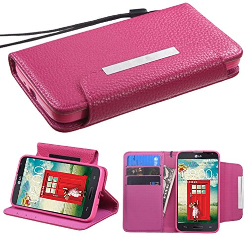 Asmyna My Jacket Wallet Case for LG MS323 Optimus L70 - Retail Packaging - Hot Pink