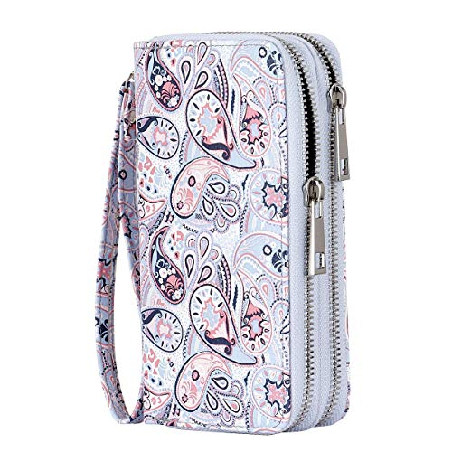 - HAWEE Cellphone Wallet Dual Zipper Wristlet Purse with Credit Card Case/Coin Pouch/Smart Phone Pocket Soft Leather for Women or Lady, Emigmo Flower