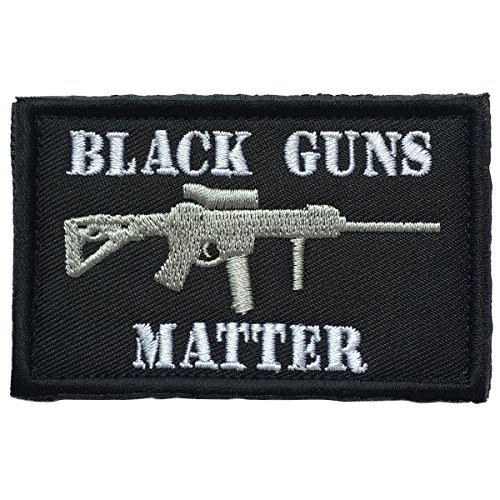 SpaceAuto 3D Embroidery Black Guns Matter Military Tactical Morale Hook & Loop Desert Badge Patch 3.15″ x 1.97″ Sized