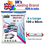 Vacuum Compressed Space Saver Storage Bags set of 6 Large(100x80CM) - Extra Strong Double-Zip Seal and Triple Seal Turbo Valve for Ultra Compression | Ideal for Clothes, Duvets, Bedding, Pillows, Curtains and Travelling | Screw Type Pump for Travel Included (Pump color may vary)